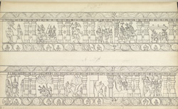 Narrative sculpture on the north side of the Amritesvara Temple at Amritpur, 1805. Fourth panel of the Mahabharata frieze